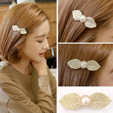 novelty elegant women metal hair clips in jewelry golden silver leaf decoration alloy headdress hair accessories for women YT-86(China)