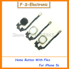 FREE SHIPPING New Home Button Sensor Ribbon Flex Cable Complete Assembly Spare Part Replacement for iPhone 5S Black White Gold