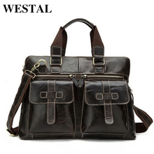 WESTAL Business Men Briefcase Handbags Genuine Leather Men Bag Messenger Bags Shoulder Crossbody Bags Leather Laptop Bag Male