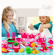 Hot 46pcs/set Kids kitchen play toys Fruit vegetable Cooking Pots Children Pans Dishes Food cutting play Free shipping(China)
