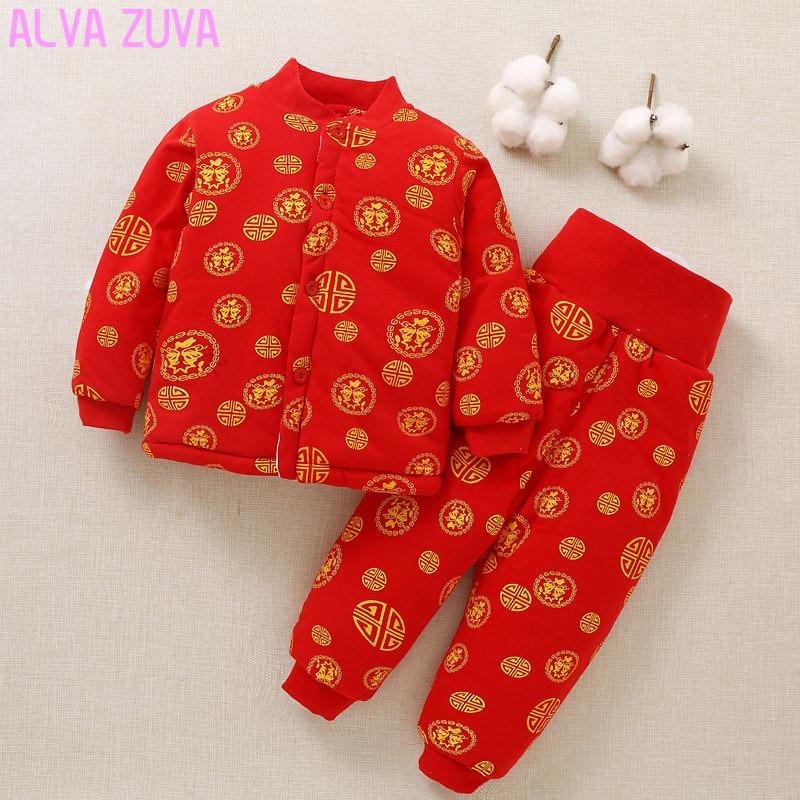 ALVA ZUVA Winter Newborn Cotton-Padded Jacket+Trouser 2Pcs/Sets Infant Baby Boy Girl Thicken Warm Coats Pants Suits Cyf023<br>