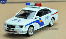 1:32 Scale Alloy Diecast Metal Police Car Model For Hyundai Sonata Collection Model Pull Back Toys Car With Sound&Light - White