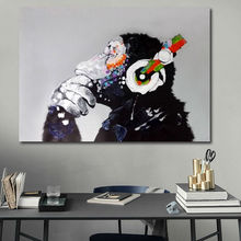 Hand painted oil paintings the orangutan enjoy the music Chimpanzee monkey cool home decor for living room