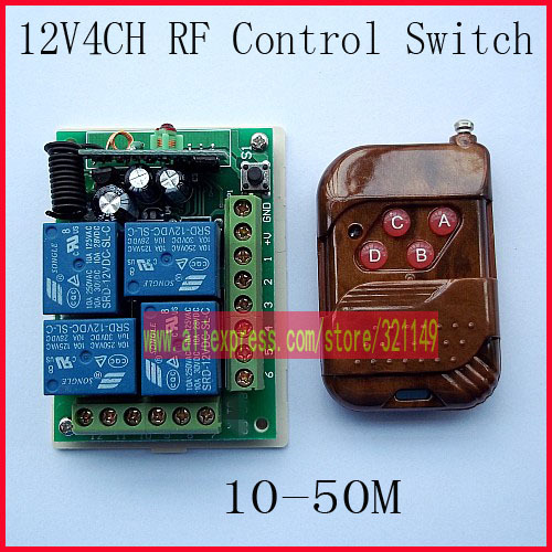 DC 12V 4 CH 4CH RF Wireless Remote Control Switch System,315/433 MHZ Transmitter And Receiver<br><br>Aliexpress