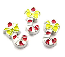 Free shipping FC329 Christmas candy cane Floating locket living charms christmas series fit for floating locket as friend