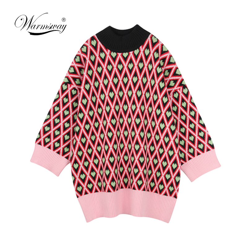 High Quality Sweater Brand heart Print 2018 Women Turtleneck Loose Sweater Knitted Thicken Pullover Outwear Plus Size  C-096
