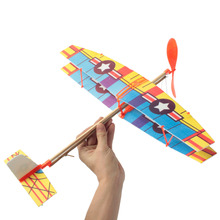 Funny Educational DIY Handmade Assembly Airplane Aircraft Launched Powered By Rubber Kids Model Building Kits