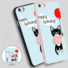 happy birthday cat with balloon Soft TPU Silicone Phone Case Cover for iPhone 5 SE 5S 6 6S 7 Plus