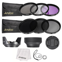 Andoer 55mm Lens Filter Kit UV+CPL+FLD+ND with Carry Pouch / Lens Cap / Lens Holder / Tulip & Rubber Lens Hoods / Cleaning Cloth