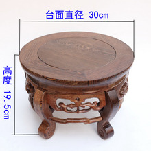 Red wood real wood household act the role is tasted handicraft furnishing articles vase tank round base on sale(China)