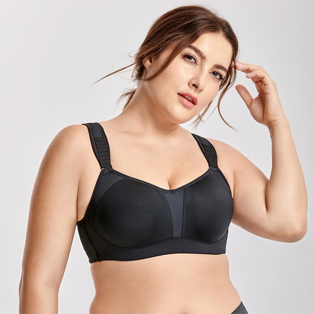 Delimira Womens High Impact Full Support Underwire Padded Contour Plus Size Sports Bra