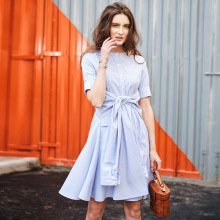 BUY LIFE 2017 women beach casual A type loose show thin striped shirt dress short sleeve round collar lace up elegant
