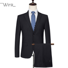 (Jacket + Pant) Men's Formal Suits Wool Wedding Suits Slim Fit Casual Blazer Costume Homme Two And Three Buttons Navy Blue E555