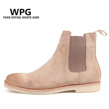 WPG  Brand New arrival 2017 men boots chelsea boots male vintage fashion denim westem boots motorcycle boots male shoes