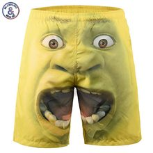 Mr.1991INC New Arrivals Men's Beach Shorts Funny Print Surprised Face Thin Casual Short Pants 3d Shorts(China)