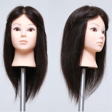 "Free delivery! 16 ""human training makeup practice head mennquins with hair gift hat display ,can be cut fine,color 2116,M00608A(China)"