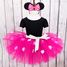 Baby Girls clothes Ploka dots Dance wear Ballet Halloween Cosplay Minnie Costume Pary Fancy Tutu Dress+ Ear Headband