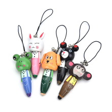 1PC Wooden Cute Cartoon Animals Short Pens Mobile Phone Pendant Wood Ballpoint Pen