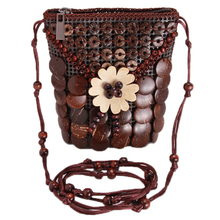 Casual Handmade Women Shoulder Bag Retro Phone Bags Coffee Brown White Craft Coconut Shell Flowers Beads Purse Shopping Bag