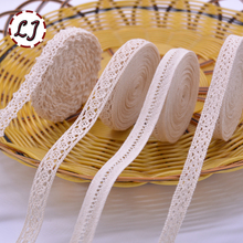 5yd/lot high quality beige lace ribbon fabric cotton lace trim sewing material for Decoration Handmade garment accessories craft(China)