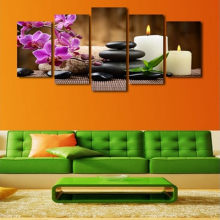 5 Panels Modern Flower stone candle Artwork Giclee Canvas Prints Landscape Paintings on Wall Art to Hang for Home Decor(China)