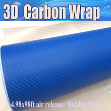 Crystal Blue 3D Carbon Fiber Vinyl With Air Bubble Free For Car Wrapping Thickness 0.18mm Carbon Blue Stickers 1.52x30m/Roll(China)