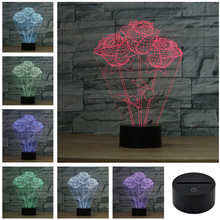 AUCD Creative 3D Acrylic Colorful Rose Night Light Household Bedroom Office LED Table Lamp Kid Children Gift 3D-TD149C