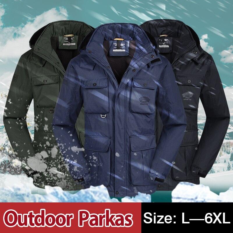 TAWILL Brand Casual Parka Winter Jacket Men Coat Warm 2017 New Arrival Multi Pocket Plus size 4XL 5XL 6XL 69035