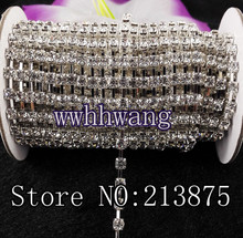 DIY 1yard SS6/12/16/20 (2mm-4.6mm) Clear Glass Crystal Rhinestone Silver base chain rhinestone chain for phone,cup,mouse,clothes