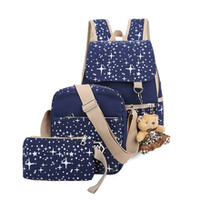 2016 Girls' School Backpack For Teenagers+Messenger+Small Bag Waterproof Canvas Composite Bags Mochila Menina 3 Set/Pcs 2017