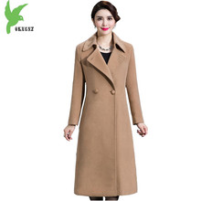 Boutique Women Autumn Windbreaker Jackets Double-sided Cashmere Coats Fashion Long style Wool Jacket Plus size Female Coats 1316(China)
