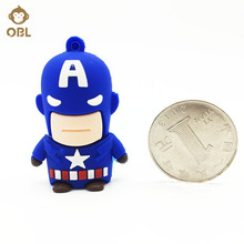 USB Flash Drive 128GB 64GB 32GB 16GB 8GB 4GB Captain America Memory Stick Gift for PC USB Key USB Flash Drive Superhero Pendrive(China)