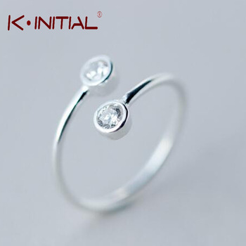 Kinitial 1Pcs Top Crystal Ring For Women 925 Silver Unique 2 Round Finger Rings Elegant Womens Wedding Bridal Gift Jewelry Rings