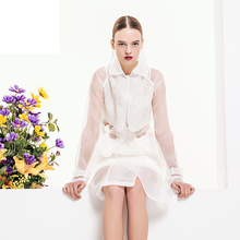 [XITAO] 2016 spring Women's High-End Organza Dress Euro & USA embroidery Longuette Long Sleeve High Waist white dress, XY-063