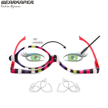 WEARKAPER Readers Magnifying Makeup Glasses Eye Make Up Spectacles Flip Down Lens Folding Cosmetic Womens Reading Glasses