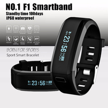 DTNO.1 F1 Heart Rate Monitor Smart wristband Fitness Tracker IP68 Waterproof Smart Band PK MI Band 2 for Android iOS Phone(China)