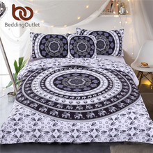 BeddingOutlet Vanitas Bedding Set Queen Size Bohemia Modern Duvet Cover Set Indian Black and White Printed Quilt Cover 4Pcs Hot(China)