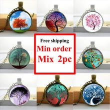 2016 Tree Pendant Necklace Tree of life jewelry glass dome plant picture neckles glass cabochon dome pendant HZ1