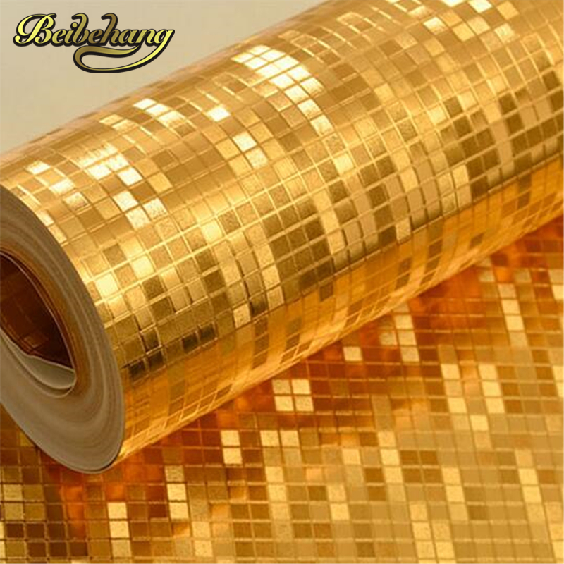 beibehang papel de parede Gold Gold Mosaic Wallpaper Gold Ceiling Living Bedroom Room Reflective Decorative wall paper<br>