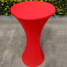 Free Shipping 10pcs Red Round Based Elastic Spandex Cocktail Table Cloths Lycra Stretch Bar Table Covers For Event Party Wedding(China)