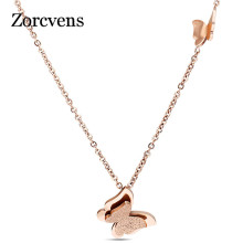 ZORCVENS Fashion Vintage Rose Gold-Color Stainless Steel Butterfly Necklace Dull Polish Statement Necklace For Women(China)