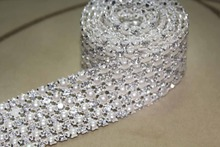 1 Yard 6 Rows 5mm A Grade Real Diamond Rhinestone Crystal & Pearls Wedding Cake Banding Trim Cake Ribbon Sewing Decoration