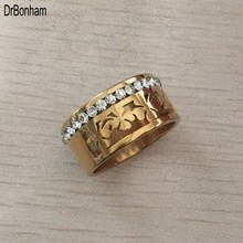Factory Wholesale 2017 Zircon Stainless Steel Titanium Ring For Men Women CZ Crystal ring Band Jewelry Custom Accessories(China)