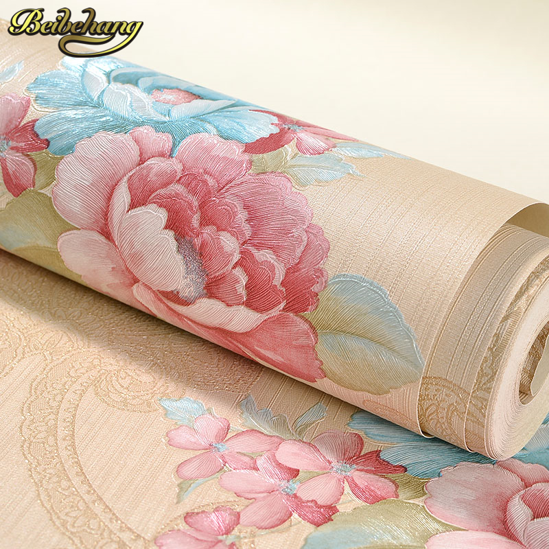 beibehang Retro Modern Reclaimed wall paper roll Effect Red flowers Wallpaper in cafe bar entrance hallway living room tapete <br>
