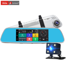 "Junsun 7"" Car DVR camera Rearview Mirror Android 5.0 3G Network Video Recorder GPS Navigation Dual Lens Automobile Dash cam"