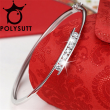 New Silver Plated Concise Buckle Super flash Bracelets for Women and Bangles AAA Cubic Zircon From Swarovski(China)
