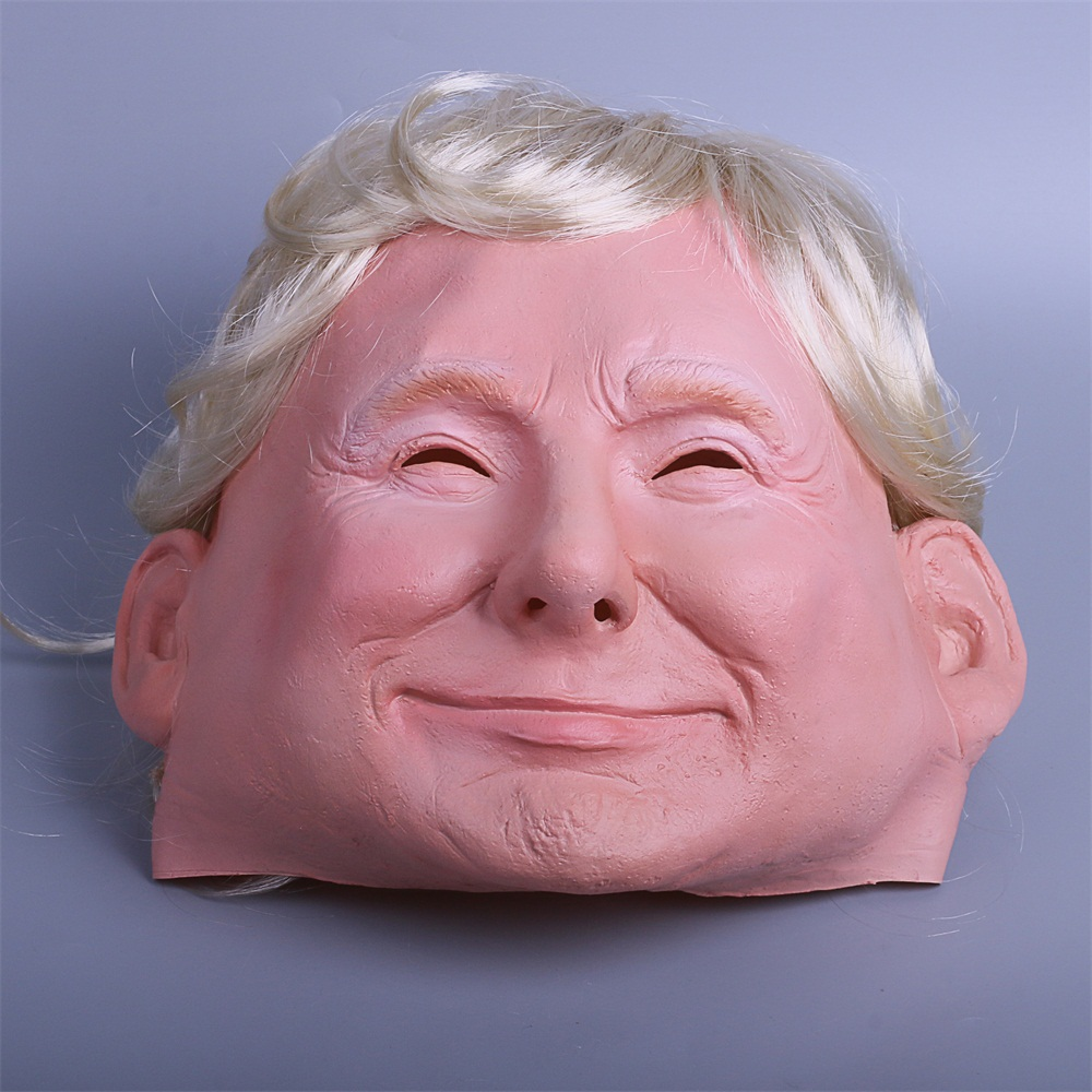 President Trump Mask Realistic Adults Halloween Deluxe Latex Full Head Donald Trump Mask with Hair (1)