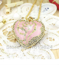100% real capacityFree shipping pink gold diamond heart necklace usb flash drive/memory card 4GB 8GB 16GB usb flash drives S360(China)