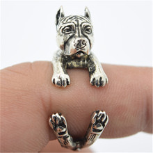 RONGQING American Pit Bull Terrier Antique Silver Adjustable Dog Rings for Women Children Bague Cute Engagement Jewelry Gifts