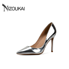 Hot 2017 Spring Autumn Women Pumps Sexy Gold Silver High Heels Shoes Fashion Pointed Toe Wedding Shoes Party Women Shoes d01-t(China)